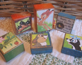 Set of Six Handmade Vintage Style Wooden Toy Blocks BAMBI