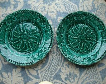 Gorgeous PAIR of Antique French Green Leaf Plates....'Sarrequemines' style Paris apartment chic