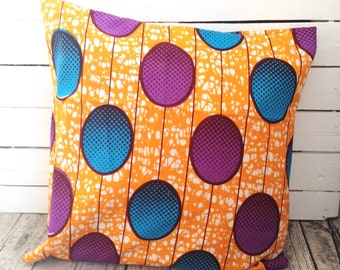 African Throw-pillow, Pillow cover, African wax print  (17 inch) Orange Purple Blue, Scatter cushion, Throw Pillow decorative Pillows