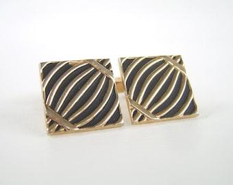 Vintage Swank Cuff Links Gold & Black Enamel Cufflinks