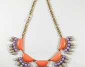 Soft Coral and purple bloom bib necklace rhinestones ladies statement jewelry girls one of a kind floral necklace miami fashion designer