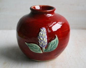 Bright Red Ceramic Flower Vase  Wheel Thrown and Carved Floral Decorative Vase Ready to Ship Made in USA
