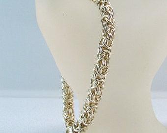 Silver Plated Non Tarnish Byzantine Design Chain Mail Bracelet