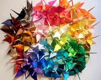 100 Small Origami Cranes Paper Crane Origami Paper Cranes - Made of 7.5cm 3 inches Japanese Paper - 100 Different Colors