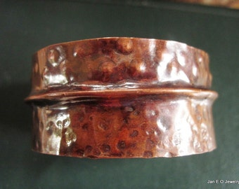 Copper fold form forged tribal cuff bracelet