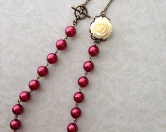 Off White Rose Flower and Cranberry Pearls Necklace