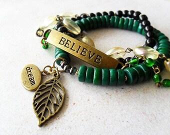 Believe Dream Stretch charm Bracelet Set , Boho , Bohemian , Hippie , Stacking Bracelets