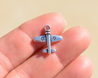5  Silver Airplane Charms SC2321