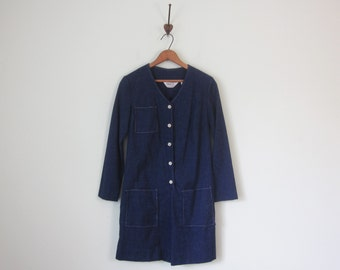 60s denim chambray romper one piece shorts long sleeve (s - m)