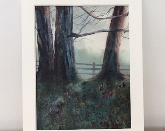 Original watercolor of trees on a misty morning, matted to fit 8 by 10 frame.