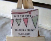Personalized Bunting Wedding Favors - Save the Date Magnets - Set of 20