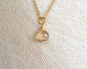 Faceted Champagne Topaz Teardrop Pendant Necklace on 14k Gold