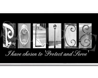 POLICE  DEPUTY Inspirational Plaque black & white letter art