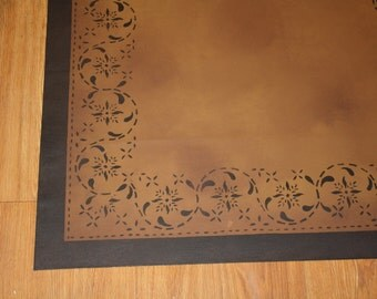 Beautiful primitive floorcloth area rug. Expertly hand-crafted to last. 2'x3'.