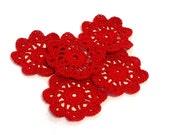 Mini Crochet Doilies in Red Embellishment Applique Doily
