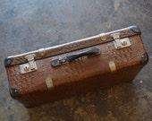 English Mock Alligator Suitcase | Vintage Suitcase | Alligator Suitcase | Suitcase