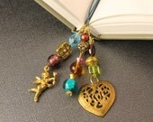 Auntie Harriet's Antique Book Mark - Three Strand Book Thong - Cupid, Heart, Paisley, Gold Tone, Blue Leather Cords, Glass Beads