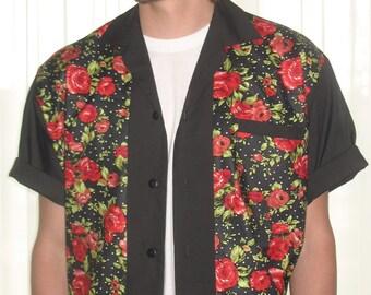 Men's Rockabilly Shirt Jac Red Roses
