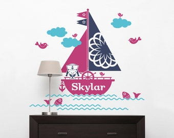 Sailboat Girl Name Wall Decal Nautical Baby Nursery Ocean Sea Decor Personalized