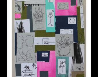 Funky Outsider Folk Art Collage