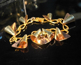 Crazy Curlicue Cha-Cha Bracelet, Atomic Age / Googie Modernist Fab, Yellow & Rose Gold Over Sterling, Infinity Link, Minty Condition