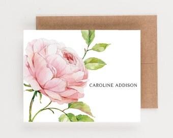 Personalized Stationery, Blush Pink Botanical Wedding Thank You Notes, Boxed Set, Bridal Stationery