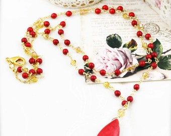 Red salsa necklace - dyed howlite