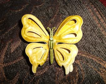 Vintage Dimensional Yellow & Green Rhinestone Enamel Butterfly Brooch Pin