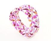 Pink, purple, orange brown and white fabric wrap bangle CLEARANCE