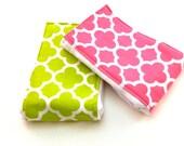 Quatrefoil Burp Cloths - set of 2 - Hot Pink Lime GreenYour Choice