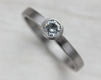Simple Engagement Ring - Eco-friendly Gold or Palladium Solitaire Engagement Ring - 4mm Ethical and Conflict Free Diamond or Moissanite