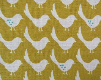 2522A - Lovely Bird Line Fabric in Mustard Yellow, Bird and Tiny Heart