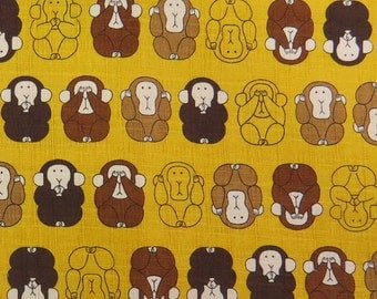2529A - Adorable Three Wise Monkeys in Yellow, Japanese Cotton Fabric, Cosmo Textile