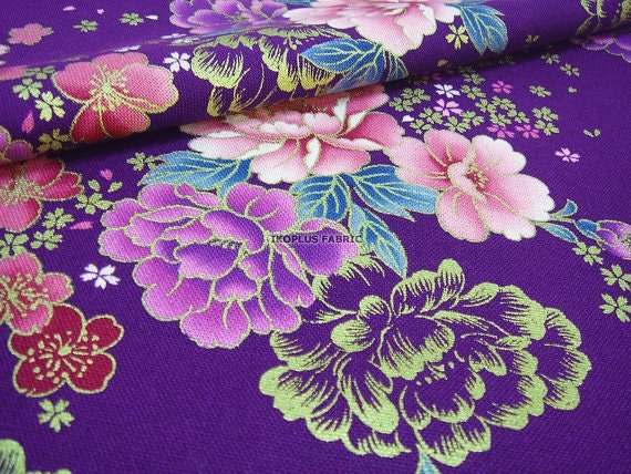 Gorgeous Peony and Pretty Sakura in Indigo Purple -- EK-QS38230A