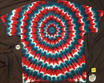 "Hand-dyed 2X ""Patriotic Burst"", Short Sleeve, Hand-Dyed Original"