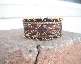 Bracelet, Renaissance Style Cuff Bracelet with Beads, Old World Tapestry Bracelet