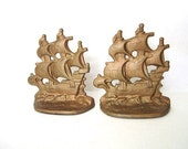 Vintage Bookends Cast Iron Ships Marked 1928 Spanish Galleon