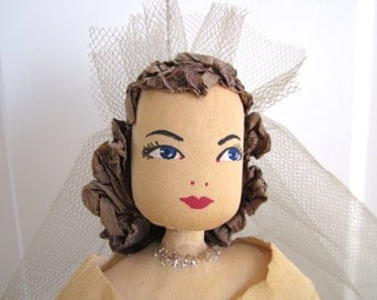 Vintage Bride Doll Crepe Paper Wedding Dress Centerpiece LARGE Size Figurine