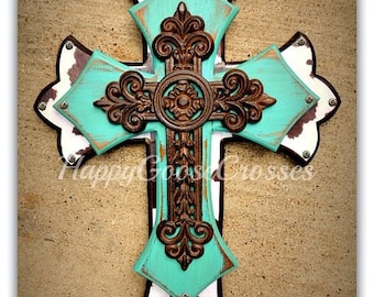 Wall Cross - Wood Cross - Medium - Antiqued Turquoise, Brown & White Cow Print , with large iron cross