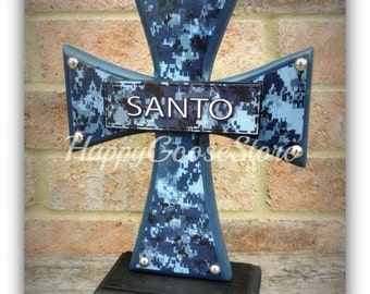 Cross - Wood Cross - Military - Standing CROSS - NAVY Digital Camo with name patch