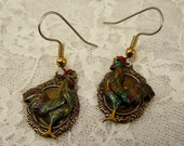 Hand Painted Rooster Earrings, Colorful Chicken Hand Crafted Jewelry, Brass Bird Charm, Farm Jewelry, Farmer or Gardener Gift