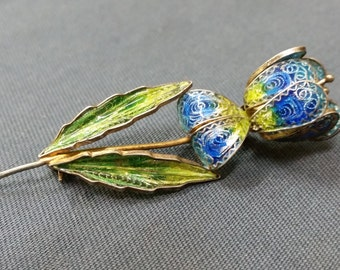 Antique Art Nouveau Era Enamel Iris 800 European Silver with Gold Vermeil Overlay Brooch