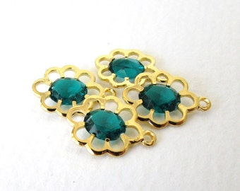 Vintage Bead Drop Gold Charm Emerald Green Rhinestone Acrylic 16mm vpb0151 (4)