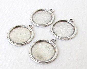 Antiqued Silver Ox Frame Setting Round Cabochon Bezel 13mm set0311 (6)
