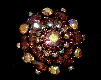 Highly Domed aurora borealis Brooch purple navettes