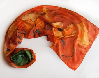 Hand painted silk scarf/ Orange Poppies scarf painted/ Bright tangerine scarf/ Handpainted silk/ Luxury shawl scarf/ Mothers Day gift/ SS16K