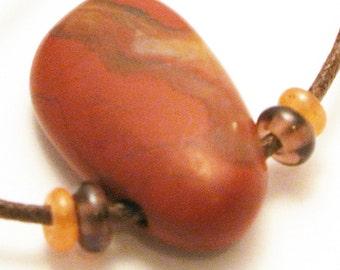 Red Jasper Pendant Necklace Semi Precious Stone