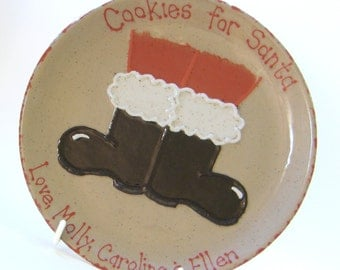 Santa Boots Cookies for Santa Plate & MUG - Personalized Christmas Cookie Plate - Santa Boots Treats Plate - Hand Made Cookie Plate and Cup