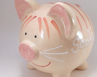 Orange Tabby Cat Piggy Bank - Kitten Piggy Bank - Personalized Cat Piggy Bank - Kitty Bank - Ceramic Pet Bank - with hole or NO hole