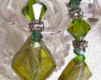 All glass artisan bracelet - shades of green